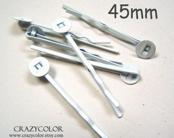50pcs 45mm Bright White Bobby Pins With Flat Pad 45Y01