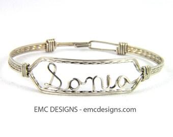 Slim Name Bracelet in Sterling Silver Wire