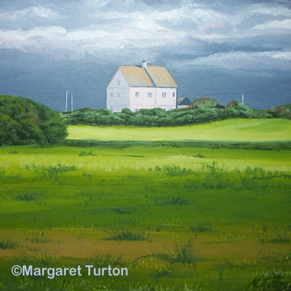 Storm Over Pink House, acrylic painting on canvas