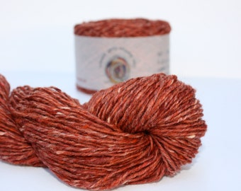 Spinning Yarns Weaving Tales -  Breidin 802 Orange 100% Wool Aran weight Yarn for Knitting, Crochet, Felting, Warp & Weft
