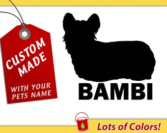 Personalized Yorkie Long Haired Breed Vinyl Decal with Your Dogs Name - Any Color - Custom Dog Sticker