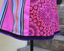 Collage  skirt , Aline skirt , Knee length skirt , Summer skirt , Casual skirt , Hippie chic skirt , African Skirt in pinks and purple.