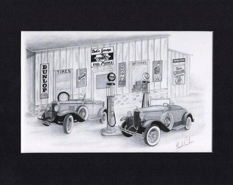 Car art of a 1930 Ford and Chevrolet in front of old gas station