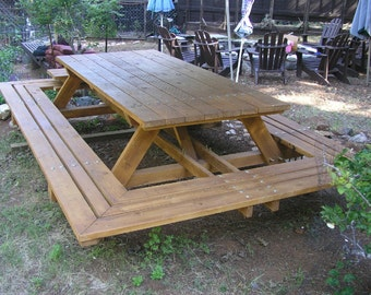 Custom Made Picnic Tables, Large Thru-Bolt Picnic Tables, Redwood Picnic Table. Wide Wrap Around Bench