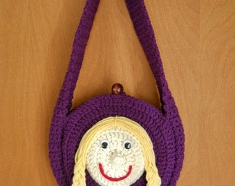 Girls Doll Face Crocheted Purse
