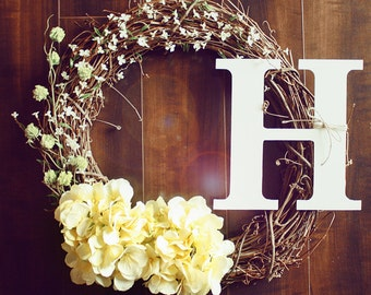 Monogrammed White & Yellow Flowery Hydrangea Grapevine Wreath.