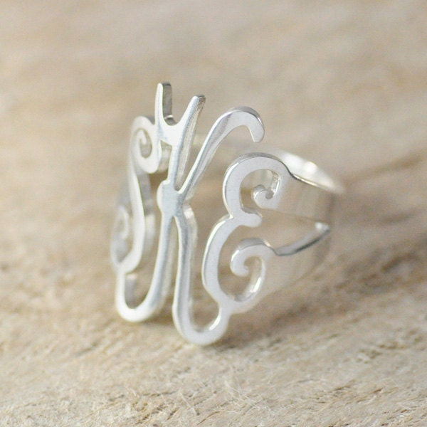 gift monogram ring 925 sterling silver sted