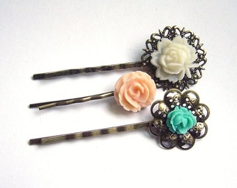 Floral Bobby Pin Set - Hair Pins -