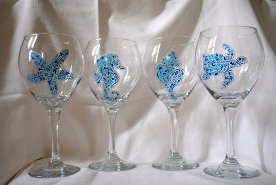 hand painted beach themed wine glasses set of four