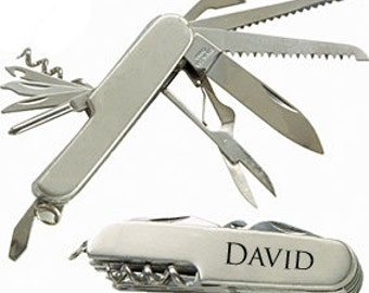 Engraved Stainless Steel Pocket Knife Multi Tool Personalized Custom Groomsman Best Man Father Brother Wedding Gift