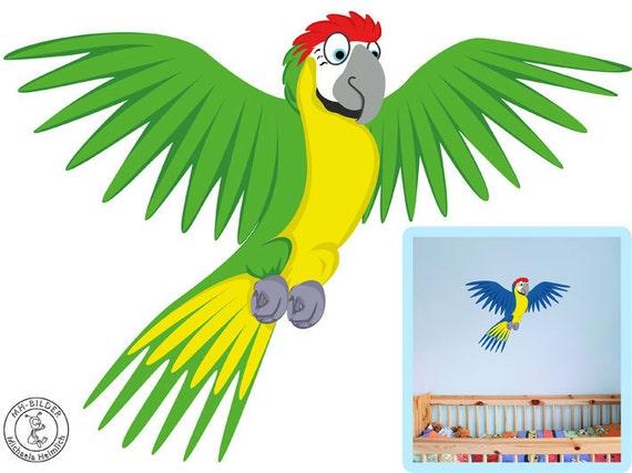 Wandtattoo papagei farbauswahl personalisierbar von mhbilder for Wandtattoo kinderzimmer dschungel