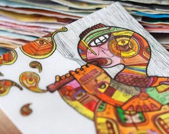 Artistic postcard - Turtle playing fife / Tribal postcard / Illustrated postcards