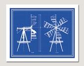 Windmill Decorative Blueprint Digital Download 8 x 10