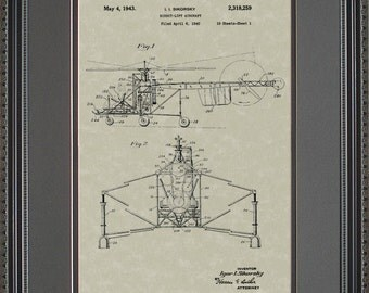 Sikorsky Helicopter Patent Art Pilot Gift Wall Hanging S8259
