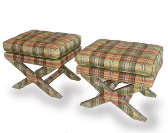 Pair of Mid-Century Billy Baldwin-style Silk Upholstered X Leg Stools
