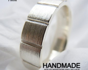 7mm Mens Solid 925Sterling Silver Square Band Ring Handmade All Size