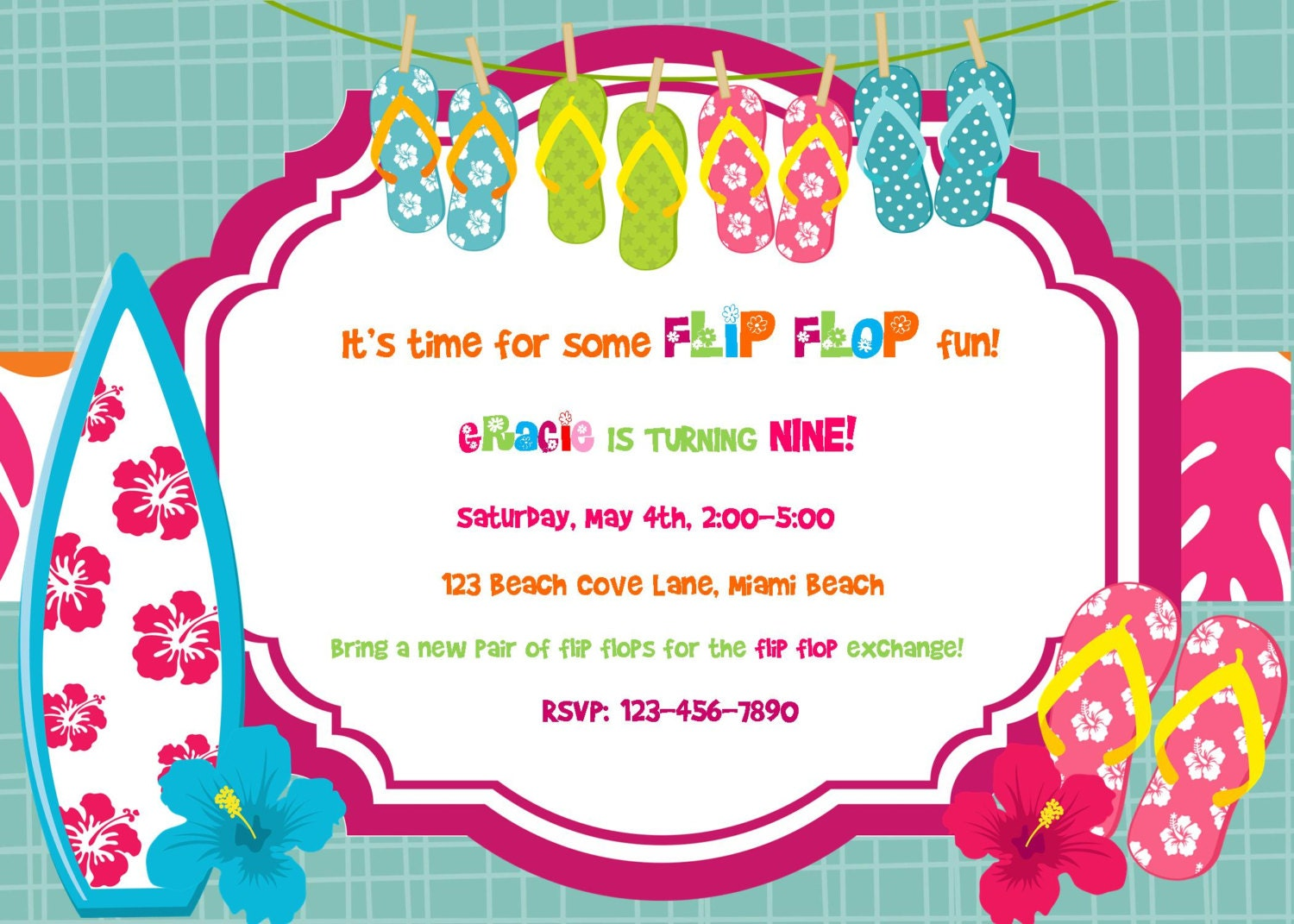 Flip Flop Summer Birthday Luau invitation Digital DIY