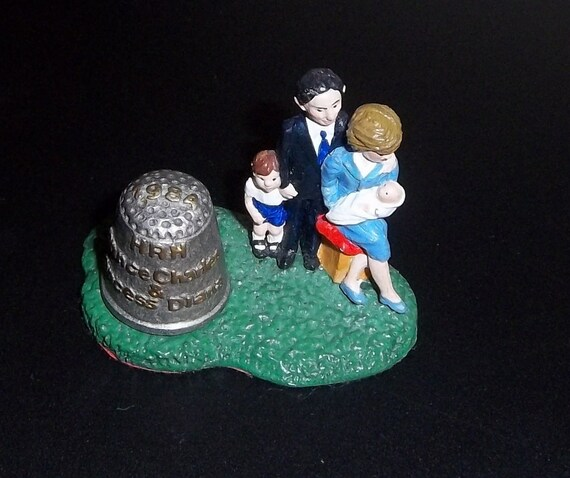 Princess Diana, Princes Charles, Henry , William Figural Stand and Thimble 1984