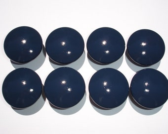 Set of 8 Hand Painted Navy Blue Dresser Drawer Knobs