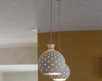 """Hanging lamps,  9 """" diameter each unit, white ceramic balls, Pendant lighting, Lighting, Ceiling light, light fixture"""