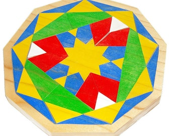 Children's Wooden Mosaic Puzzle -Geometric Shapes Puzzle -  Nanogan