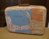SALE Vintage Suitcase Decoupage Travel Souvenir Cape Cod Boston luggage in MAPS upcycled reuse one of a kind