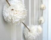 Wedding Garland - Baptism Decoration - Lace Pom Pom Garland - Medium Pom Pom - ivory, champagne or brown