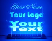 RGB Custom Acrylic Leds Sign Laser Engraved - Desk Model - Multiple Colors - Remote Control - 3  sizes 4X6 or 8x8 or 12x12 FREE SHIPPING