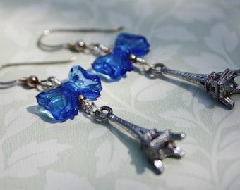 Landmark Eiffel Tower Antique Silver Tone With Blue Bow Earrings