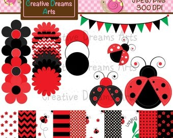 40% Off! Lady Bug Set Digital Art Instant Download