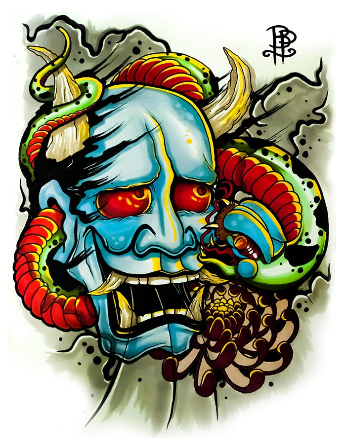 Hannya Mask wrapped by a Snake Tattoo Flash Print by ...