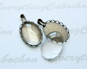 10 sets Antique Bronze Oval Cabochon Setting with matching glass cabochons, Pendant Bezel Tray, Inner tray 18x25mm
