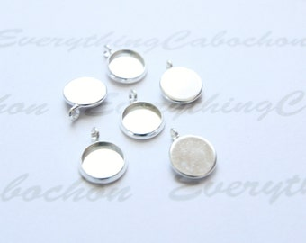 50 pcs Silver Round Cabochon Setting, Pendant Bezel Tray, Inner tray 10mm