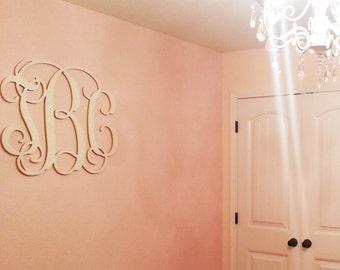 Large Wooden Monogram - Wall Hanging Monogram Initials - Nursery Decor - Wedding Guest Book - Bedroom Decor - Wood Vine Monogram 35x35