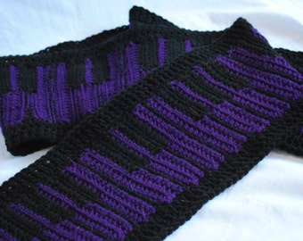 Crochet piano keyboard scarf