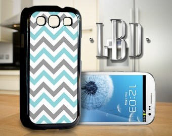Galaxy S3 Case - Chevron Grey and Teal Blue Pattern Cover GS3