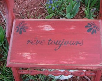 antique bedside step stool distressed in a pumpkin chalk paint