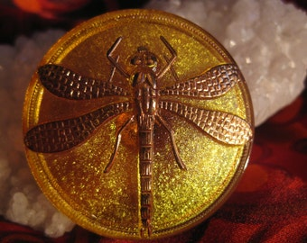 Golden Dragonfly on Saffron Czech Glass Button 41mm