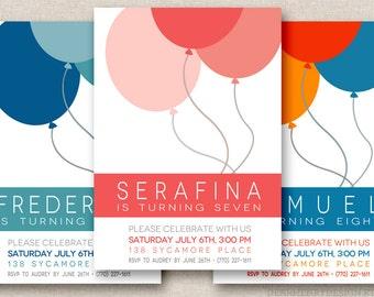 Balloon Birthday Invitation, PRINTABLE Balloons Birthday Party Invitation, Boy Birthday, Girl Birthday