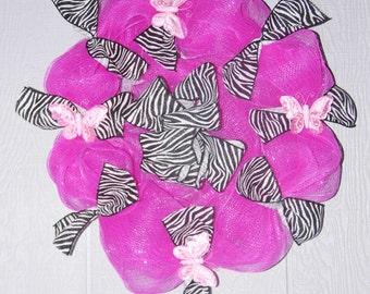 "16"" Pink and Zebra print deco mesh wreath"
