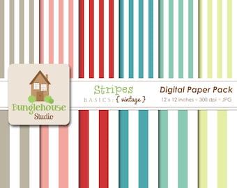 Digital Stripes Paper Pack   Instant Download   Digital Scrapbooking Basics   Vintage Stripes Paper Set