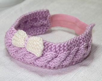 light purple baby girl headband hand knitted