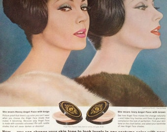 Vintage Pond's Angel Face Make-up, Paper Ephemera from a 1962 Ladies Home Journal