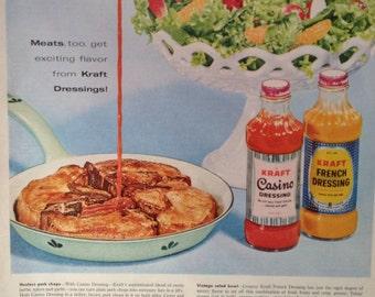 Vintage 1959 Kraft Salad Dressing Ad, Paper Ephemera taken from a McCall's Magazine.