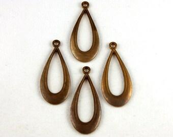 4x Vintage Patina Brass Tear Drop Charms - M016