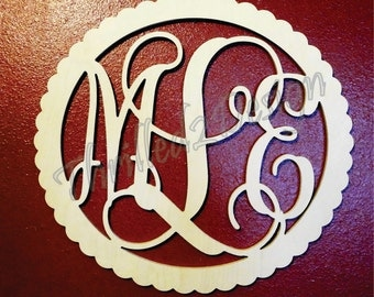 26 inch Scalloped Border Circle Vine Wooden Monogram - Wedding, Nursery, Home
