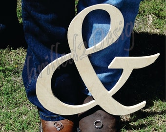 Wooden Ampersand Sign - Unpainted letters, Wedding Pictures, Engagement Pictures