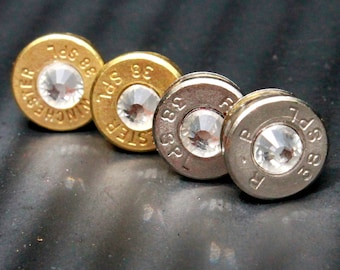 Handmade bullet stud earrings with jewel