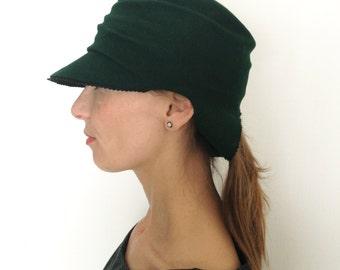 Dark green hat,Felt Handmade Hat ,womens felt hat
