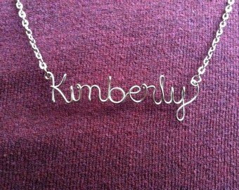 Personalized Custom Name Necklace or Word Necklace Wire Silver Gold Copper